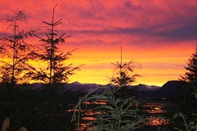 A fiery sunset in Hoonah Alaska