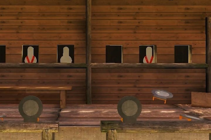 Handgun room simulation with shoot-don't shoot scenarios
