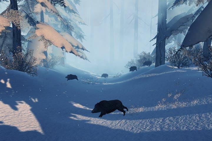 Handgun simulation with boar running in snow