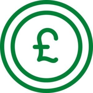 Green pound coin icon