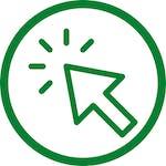 green computer click icon