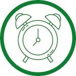 green alarm clock in circle icon