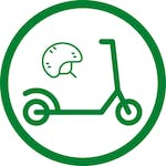 green helmet and scooter in circle icon