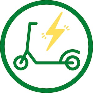 green electric scooter icon