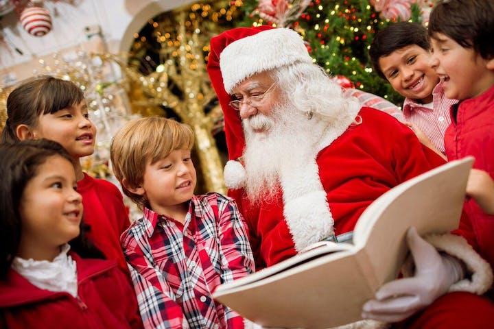 Santa reading to children