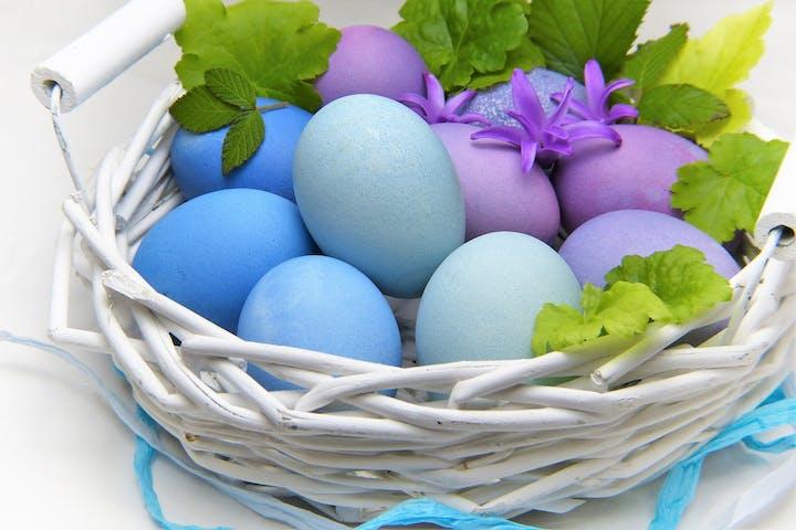 An easter basket full of eggs