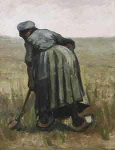 Peastan Woman Digging, or Woman witht a Spade, Seen from Behind Vincent van Gogh 1885