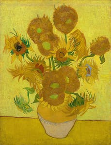 Sunfowlers, reptition of the 4th version (yellow background) Vincent van Gogh 1889