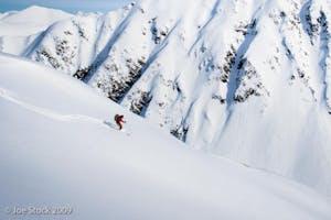skier getting some fresh powder