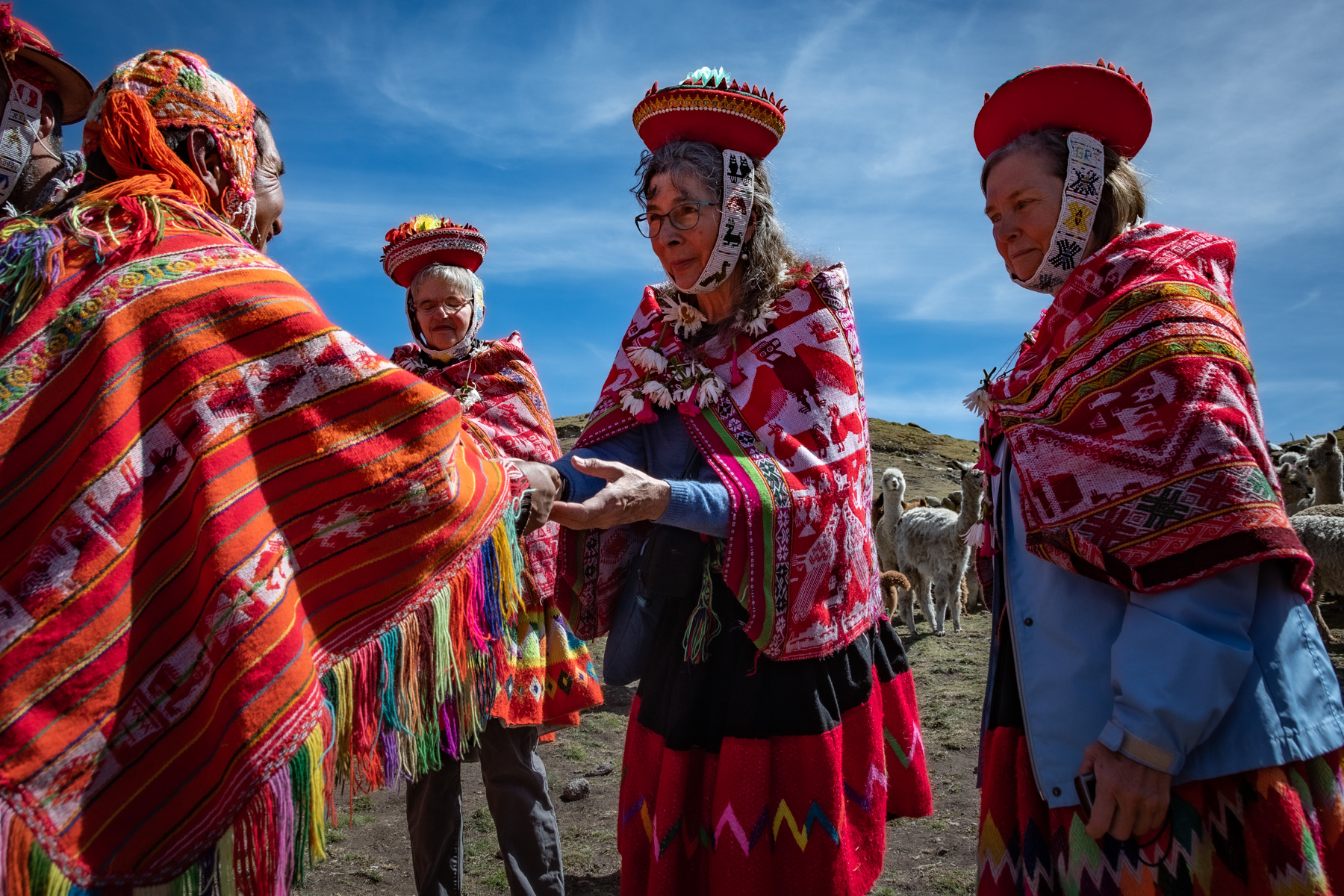 Travellers dressed in traditional Peruvian clothing