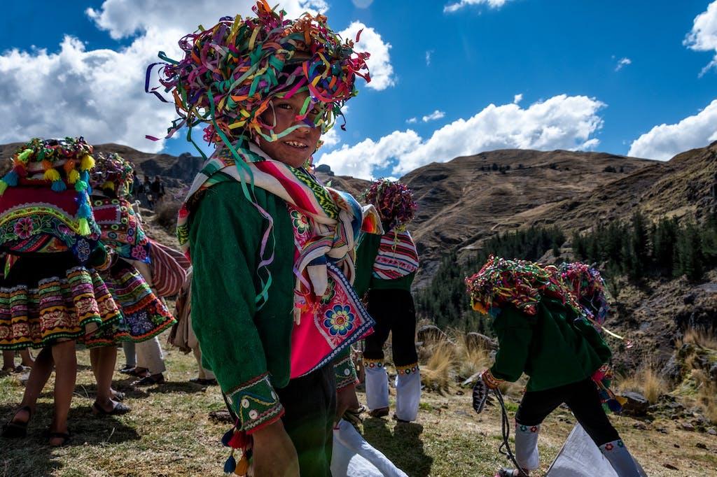 Boy in traditional peruvian dress