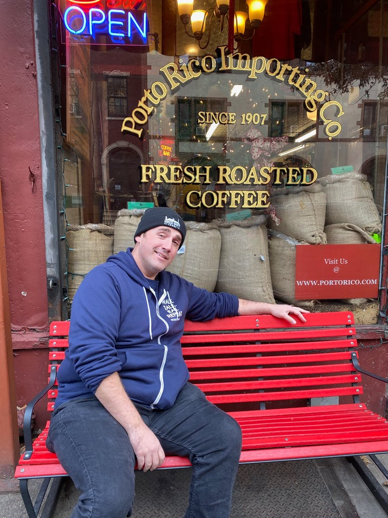 A man, a bench and the best coffee