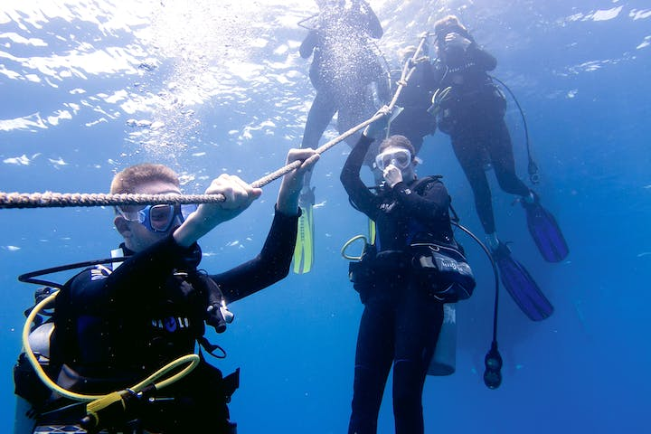 Divers hanging onto guide rope under water