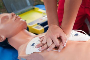CPR training on a dummy