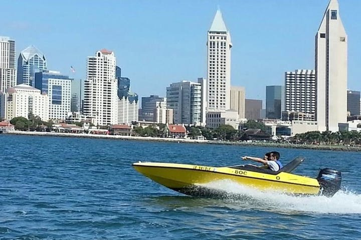 Yellow Speed Boat side view