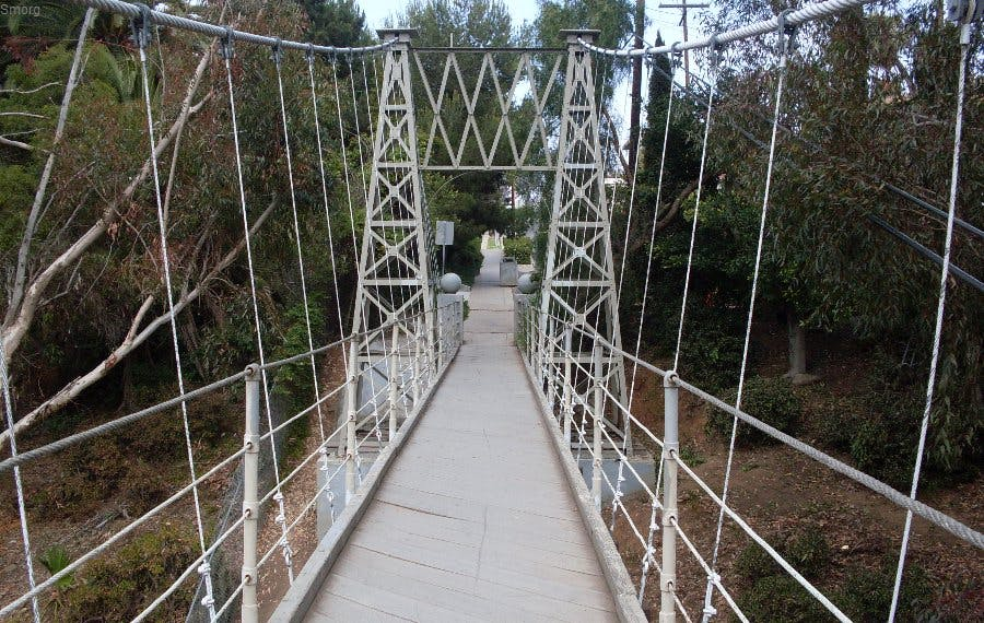 A photo of taken while walking the middle of of the spruce street swing bridge in San Diego