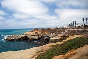 A view of the Sunset Cliffs in San Diego during the day
