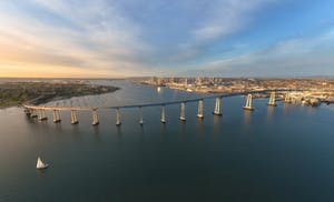A panoramic view of the Coronado Bridge in San Diego from the sky