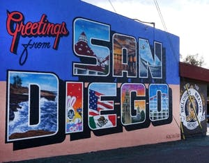 a photo of the welcome to san diego mural