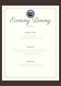 Evening Dining Menu