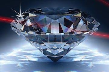 Diamond Heist Image with Diamond and Red Lasers