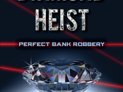 Diamond with lasers promoting the Diamond Heist adventure game