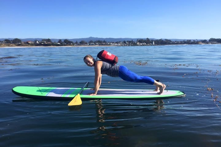 paddleboarder doing a pushup