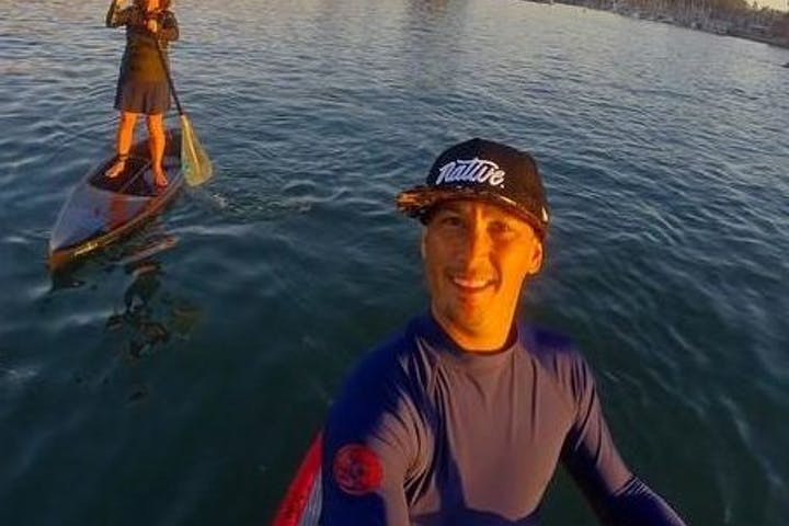 Selfie on paddleboard in the morning