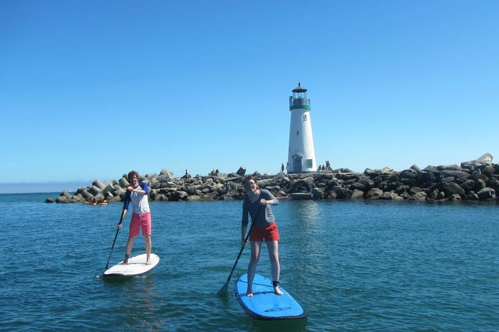 two paddleboarders