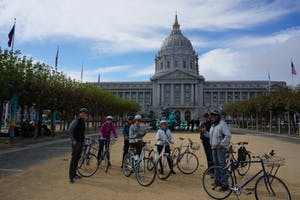 people enjoying a bike ride around san francisco