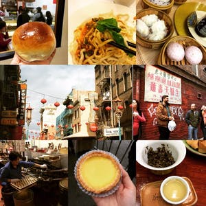 A collage of the delicious stops on a walking food tour