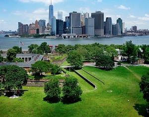 An aerial shot of governor's island in nyc