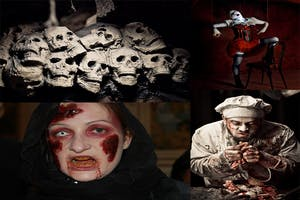 collection of skull pictures, people in scary costume