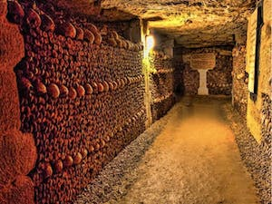 a close up of catacombs in Paris