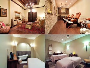four different rooms of a spa including a room with a fireplace, one with two massage beds, and one with a bathtub