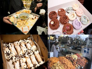 four snapsahopts of pictures of different food including a tray of cheeses, cannolis, cupcakes and dried fruit