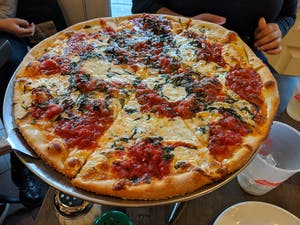 a picture of a margarita pizza with lots of cheese and sauce