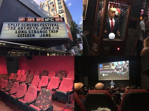 snapshots of different parts of a movie theatre including the sign out front, the seats and the screen