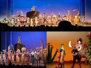 snapshots of a stage performance of the Lion King