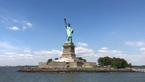 the Statue of Liberty with the ocean all around
