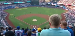 a baseball stadium full of people