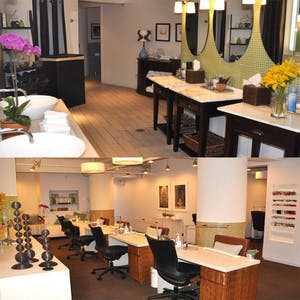 two spa areas including manicure and pedicure spots and a spa locker room