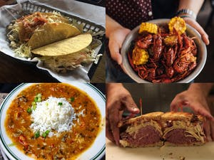 a snapshot of four different foods including soup, tacos, crawfish and a reuban