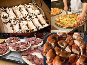 four snapshots of different foods including cannolis, pizza, sandwiches and meat