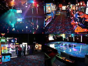 four snapshots of an arcade and a rollerskating rink