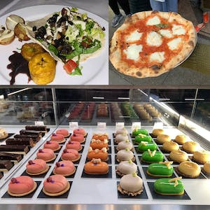 a bunch of foods including pizza and colorful gourmet desserts