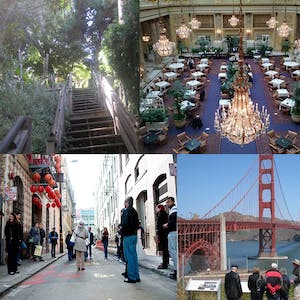 Different views of the city including the Golden Gate Bridge, a well dressed room with a chandelier, a set of wooden stairs, and a view of Chinatown San Francisco