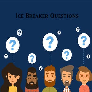 "graphics of people with question marks over their heads with the words ""Ice Breaker Questions"""