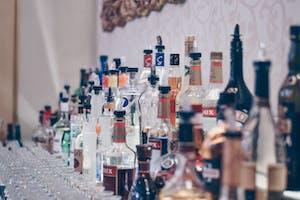 bottles of liquor in a bar