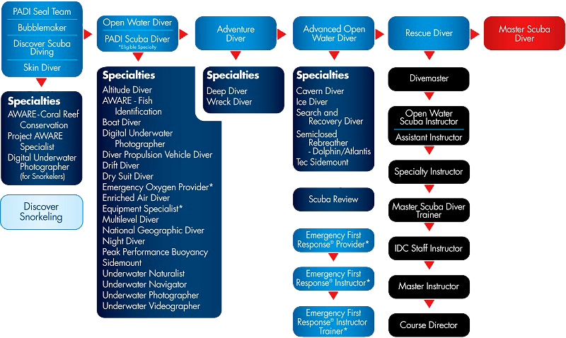 PADI Dive Certification Chart